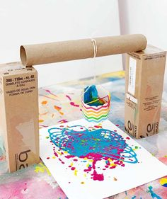 This Pendulum Painting Activity for Kids teaches children that everyday objects can create amazing art. School Age Activities, Creative Activities, Preschool Activities, Preschool Crafts, Fun Crafts, Crafts For Kids, Painting For Kids, Art For Kids, Painting With Toddlers