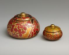 Covered boxes, enamel on copper, designed by Louis Comfort Tiffany at the MMA