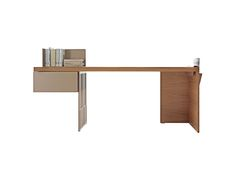 A desk with very clean lines and a decoratively perforated top support element that conveys a sense of lightness. Wood surfaces, a practical lateral drawer, a clever book support element in painted sheet metal and a side pocket in hide leather complete the desk. The bookend support leans on the top and it can be positioned in the desired direction.