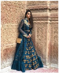 The Best Stores To Shop For Lehengas In Ahmedabad : Gorgeous dark blue lehenga set with the long jacket Party Wear Indian Dresses, Indian Wedding Gowns, Designer Party Wear Dresses, Indian Gowns Dresses, Indian Fashion Dresses, Dress Indian Style, Indian Designer Outfits, Indian Outfits, Wedding Dress