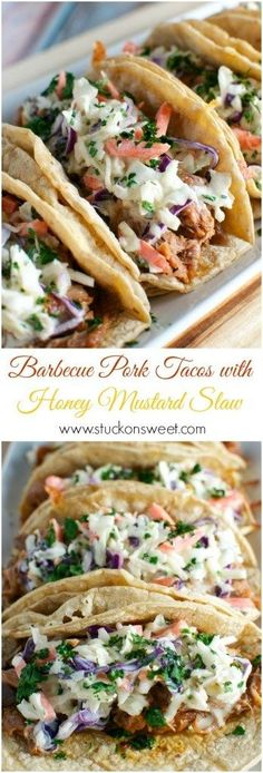 Barbeque Pork Tacos with Honey Mustard Slaw. A slow cooker recipe that's perfect for weeknight dinner!