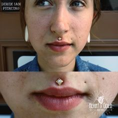 Philtrum piercing featuring solid gold jewelry by Anatometal.  #hendersonvillepiercing