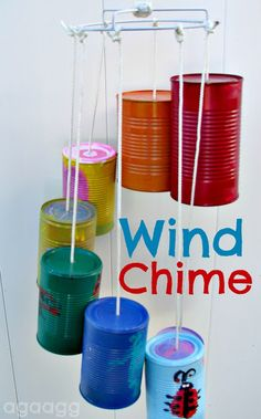 diy a great kids craft--paint tin cans and turn them into a fun wind chime!