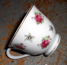 Vintage Tea Cup Pink Roses Small Tiny Tea Cup by TheBackShak