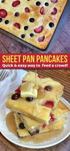 Looking for easy breakfast ideas for a crowd? These quick sheet pan pancakes are… Looking for easy breakfast ideas for a crowd? These quick sheet pan pancakes are simple, hassle free and always a hit! Kids and adults love them. Breakfast For A Crowd, Quick And Easy Breakfast, Breakfast Dishes, Breakfast Pancakes, Breakfast Recipes, Pancake Recipes, Breakfast Time, Gourmet Recipes, Appetizer Recipes