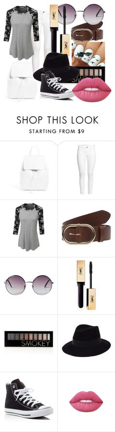 """""""Black and white cool summer"""" by maralf-1 on Polyvore featuring Mansur Gavriel, H&M, LE3NO, Frame Denim, Monki, Forever 21, Maison Michel, Converse and Lime Crime"""