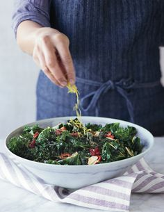 © John Kernick  Grilled Kale with Garlic, Chiles and Bacon Recipe  Contributed by Adam Perry Lang  Click here for full recipe