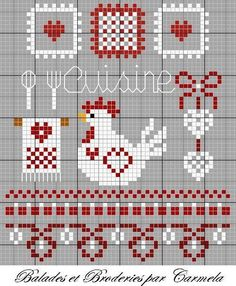 Cross-stitch chicken , cooking tools, borders, could be a sampler Rooster Cross Stitch, Chicken Cross Stitch, Cross Stitch Kitchen, Cross Stitch Samplers, Cross Stitch Animals, Modern Cross Stitch, Cross Stitch Charts, Cross Stitch Designs, Cross Stitching