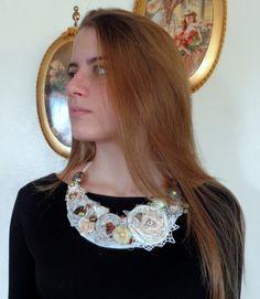 Sono felice di condividere l'ultimo arrivato nel mio negozio #etsy: Fabric necklace style, fabric flowers, fashion, boho style, textile necklace, natural colors, eco necklace gift for her fabric jewelry http://etsy.me/2AqxJNa #gioielli #collane #grigio #fashion #jewelry #textilje