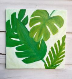 Tropical Leaves Painting/Coastal Theme Original Painting/Pantone Green Art/Tropical Greenery Leaf Art Painting