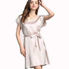 100% silk Fashion lady's Sleepwear Women nightgown short sleeve Lace Brace Nightgown For Female ** Be sure to check out this awesome product.