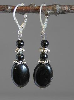 Sterling Silver Lentil Earrings Onyx