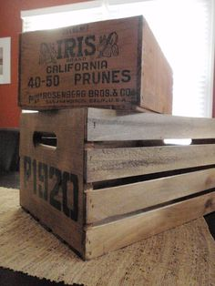 how to make a brand new crate look like a vintage one! via Hammers & High Heels