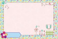 Jardim de Flores Rosa e Azul - Kit Completo com molduras para convites, rótulos para guloseimas, lembrancinhas e imagens! Moldes Para Baby Shower, Borders And Frames, A30, Writing Paper, Baby Party, Recipe Cards, Birthday Party Decorations, Party Printables, Diy And Crafts