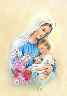 Mother Mary with Jesus in her arms - ArtHouseDesign Mother Mary Images, Images Of Mary, Blessed Mother Mary, Blessed Virgin Mary, Jesus Mother, Catholic Art, Religious Art, Miséricorde Divine, Mother Mary Tattoos
