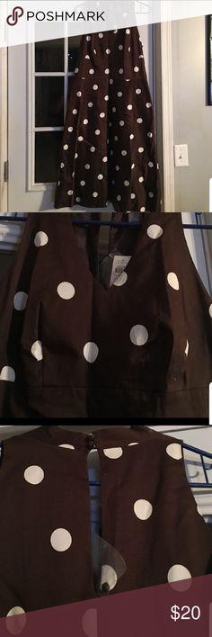 Adorable polka dot a line dress Brown and white polka dot aline dress. NWT. 078faa999d8c