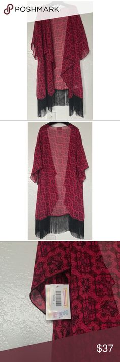 🎉HP🎉 NWT LuLaRoe Monroe Kimono Size Large 🎉HP🎉 NWT LuLaRoe Red and Black Monroe Kimono Size Large (14-24)  🎊Host Pick for 4/9/18 Best in Swim Party!🎊  The Monroe kimono is flowing and comfortable with a four-inch, cut-fringe embellishment, giving it a flirty and sassy edge. It is great for throwing on over the most basic of outfits to look instantly polished and stylish.  Free shipping! LuLaRoe Swim Coverups