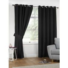 66x54in (168x137cm) Black Linen Look Eyelet Curtains