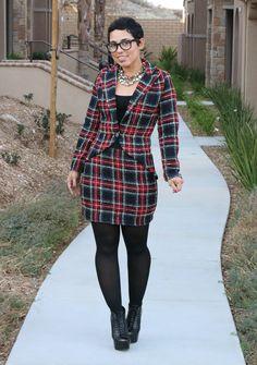 Fashion, Lifestyle, and DIY: DIY Plaid Blazer & Skirt + Pattern V8601 Giveaway!