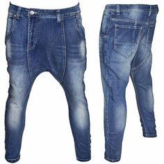 Jeans Uomo Pantalone Cavallo Basso Turca Harem Slim Denim Taglia da 42 a 50