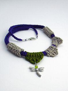 collana libellula tricotin e uncinetto by airali_gray, via Flickr