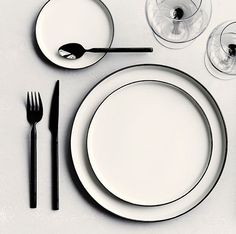 Striking Black Cutlery by Broste Copenhagen. Available in gold and black online.  #black #cutlery #onthetable #homewares #hb_collective
