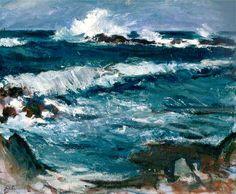 Artist:Samuel John Peploe, Edinburgh Title: Stormy Weather, Iona , c. Medium: Oil on Canvas Seascape Paintings, Your Paintings, Landscape Art, Landscape Paintings, Landscapes, Art Et Design, St Just, Artist And Craftsman, A Level Art