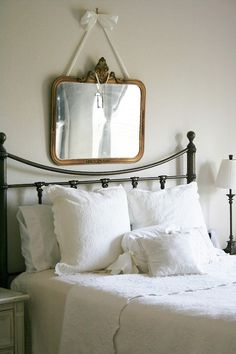 ivanchanstudio:  Quickie: Bright Mirror, Big Bed  Source: The Farmhouse Porch This is simply beautiful. The tasteful linens, perhaps vintage...