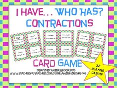 """This colorful card game is an excellent way for students to practice identifying contractions and the words that are joined.  There are 32 playing cards included which is enough for an entire class.The child with the first card begins the game by reading aloud his or her clue card that says """"I have the first card"""" (it also has a yellow star)."""
