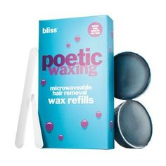 Bliss Poetic Waxing - Wax Refills by Bliss. $34.20. 2x Microwaveable Wax Refills 75g/2.5oz. Poetic Waxing Microwaveable Hair Removal Wax Refills Kit:. Bliss Poetic Waxing Wax Refill Pack. Fill 'er up! This waxing refill pack makes it easy for you to keep re-using your Poetic Waxing microwaveable cup (sold separately in the Bliss Poetic Waxing Kit) from 'hair' to eternity, without re-purchasing the whole 'kit' and caboodle. Contains:   2 microwaveable wax refills (7...