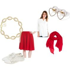 #modli #summer #red #white #pearl #gold #ruby #heart #skirt #summer #top #shoes #bracelet #modest #fun #teen #lace #scarf #elegant