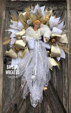 Ba Bam Wreaths Angel Christmas Wreath Christmas Mesh Weath Holiday Wreath Winter Wreath Colorful Christmas Make a Joyful Noise Christmas Decoration Christmas Swags, Mini Christmas Tree, Christmas Door, Holiday Wreaths, Christmas Angels, All Things Christmas, Holiday Crafts, Christmas Time, Christmas Decorations