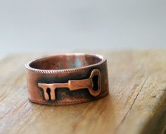 Key Band Ring Wide Copper Band by monkeysalwayslook on Etsy, $64.00
