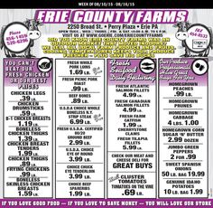 Erie County Farms Weekly Ad August 10- 16, 2015