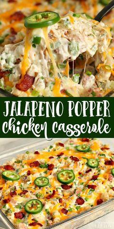 Jalapeno Popper Casserole Recipe, Jalapeno Popper Chicken, Jalapeno Poppers Baked, Chicken Poppers, Easy Casserole Recipes, Casserole Dishes, Pasta Bake Recipes, Baked Chicken Pasta Recipes, Pasta Dinner Recipes