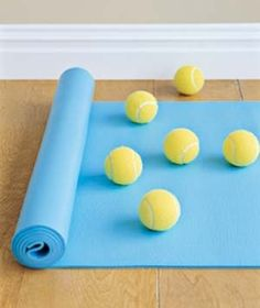 Lie on your back on an exercise mat or a carpeted floor. Position tennis balls under points where you have pain or tension -- above your pelvis, at your bra strap, between your shoulder blades. Roll gently up and down and side to side for 5 to 10 minutes as your body weight helps massage the stress away. (Note: Massage therapists say that only those without injuries or other back problems should try this self-treatment and that you should heed your body's advice and stop if it hurts.)