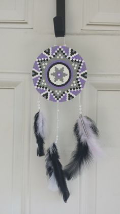 Dreamcatcher Purple Gray White Black by BurritoPrincess on Etsy