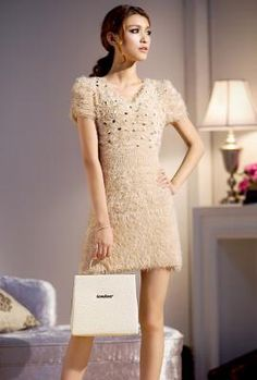 Midnight Kiss Furry Sequin Mini Dress in Champagne | Sincerely Sweet Boutique, Item 10580000 - $34.99