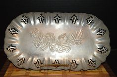 Vintage Oval Shaped Hand Forged Aluminum Serving Tray With Floral Design 12 1/2""
