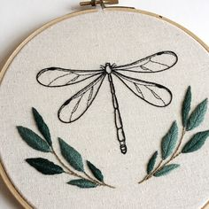 Finished this little Dragonfly piece for a friend, really pleased with how it has turned out! Finished this little Dragonfly piece for a friend, really pleased with how it has turned out! Floral Embroidery Patterns, Simple Embroidery, Modern Embroidery, Hand Embroidery Patterns, Vintage Embroidery, Embroidery Sampler, Embroidery Stitches, Creative Embroidery, Art Patterns