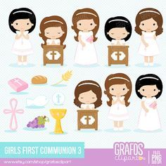 GIRLS FIRST COMMUNION 4 - Digital Clipart Set, Imagenes Primera Comunión, Comunion Clipart, Mi Primera Comunion.
