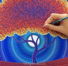 Fascinating Pointillism Paintings by Australian Artist Elspeth McLean Dot Art Painting, Mandala Painting, Mandala Art, Painting & Drawing, Mandala Doodle, Elspeth Mclean, Mandala Rocks, Aboriginal Art, Australian Artists