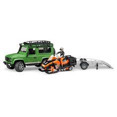 Bruder Toys Land Rover Defender Station Wagon w Trailer Snowmobil Driver 02594 Fiat 500 Sport, Landrover Defender, Case Ih, New Holland, Land Rovers, Bronco For Sale, Benne, Toys Land, Miniatures