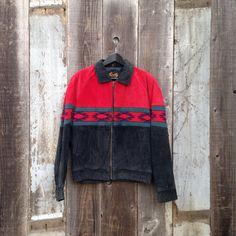 Vintage Scully Leather Jacket, Western Aztec Print Jacket