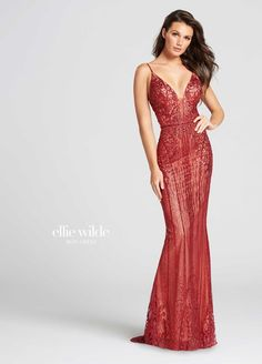 There is a fine line between sultry and sophisticated in Ellie Wilde EW118024. This breathtaking gown dazzles with a jeweled design. The bodice has a deep plunge illusion, V-neckline, with spaghetti straps, and an open U-shaped back, with zipper closure. The fitted column skirt features a jeweled empire waistband, a floor-length, opaque, nude underlay, and an elegant sweep train. Make incredible memories in this gown at a military ball, charity ball, wedding, or prom.
