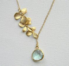 Gold Orchid Flower Lariat  Prasiolite Light Green by DanaCastle, $27.00