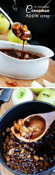 READY IN LESS THAN 15 MINUTES! Throw everything into a pot and let it simmer! Tender, sweet apples, swimming in cinnamon syrup - divine on pancakes, waffles, French toast, oatmeal, even ice cream! MAKES EVERYTHING better