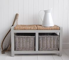 A grey storage bench with 2 storage baskets.    Ideal in a hallway, living room, as a window seat or at the end of your bed.    Store clothes, shoes, toys or games in the deep baskets of our storage seat.    Storage Bench Dimensions:  Height : 43cm  Width: 74cm  Depth: 36cm  Basket: H19cm, D: 36cm, W: 30cm  Fully assembled    Price: £130