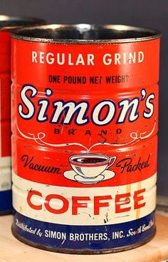 Simon's Brand Coffee Vintage Tins, Vintage Coffee, Vintage Labels, Coffee Canister, Coffee Tin, Coffea Arabica, Coffee Stands, Flea Market Style, One Pound