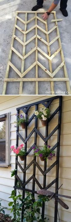 Awesome DIY Garden Trellis Projects DIY Chevron Lattice Trellis With Tutorial. Diy Garden, Dream Garden, Garden Art, Garden Landscaping, Garden Design, Landscaping Ideas, Waterfall Landscaping, Garden Ideas Diy Cheap, Farmhouse Landscaping